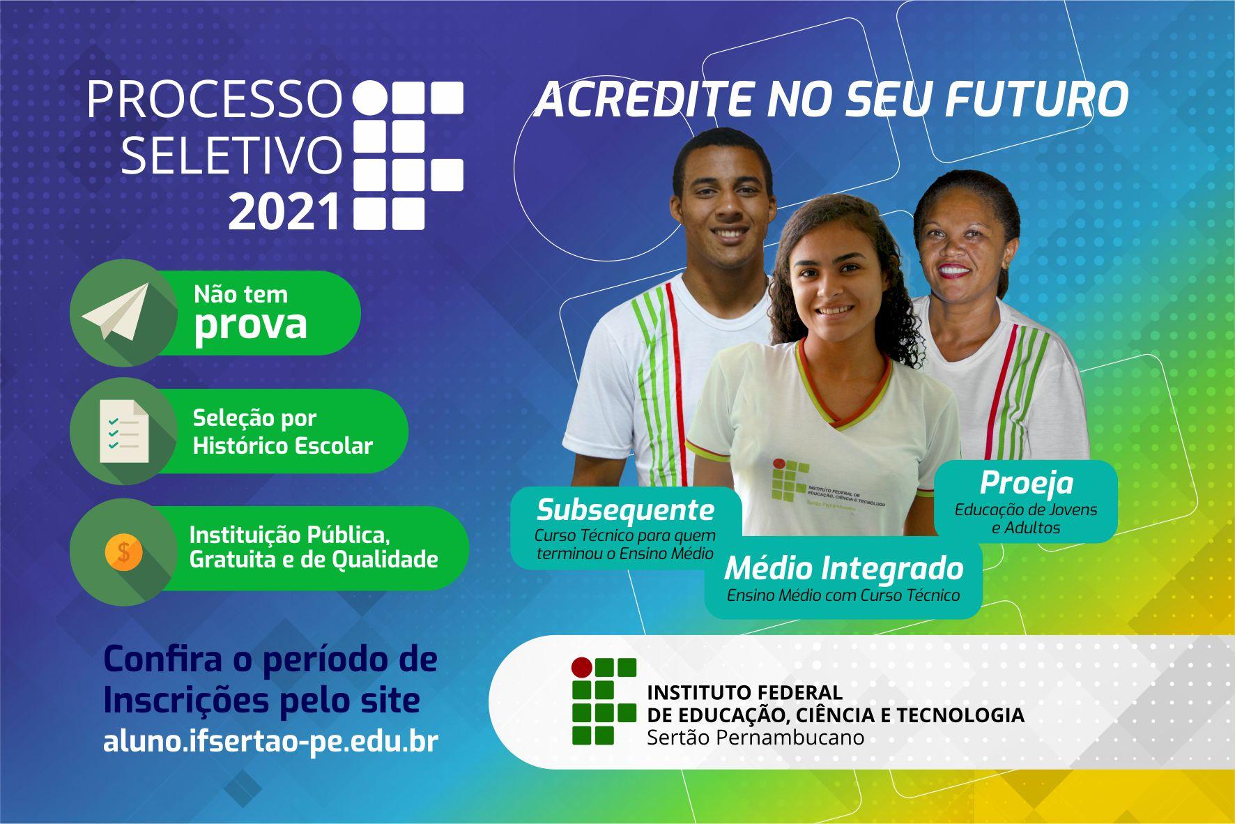 IF Sertão-PE lança Processo Seletivo 2021