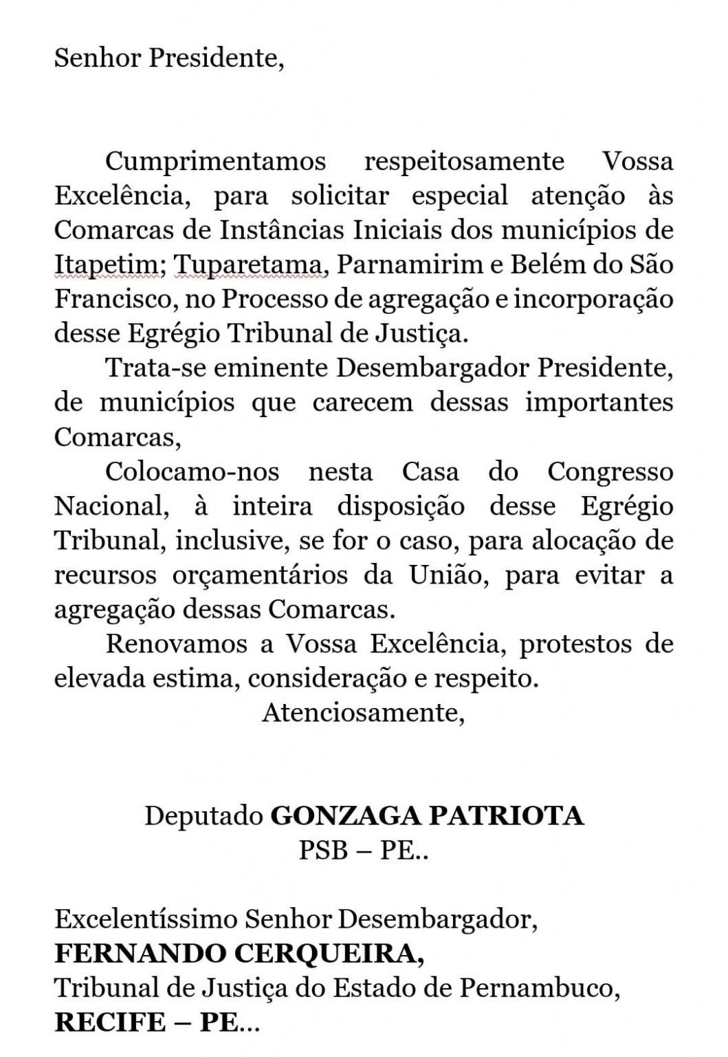 Gonzaga Patriota lamenta decisão do TJPE de fechar 43 Comarcas