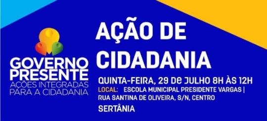 Sertânia receberá a 'Ação de Cidadania' do Governo de Pernambuco